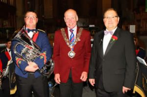 Chris Farrington and Norman Low of Meltham & Meltham Mills Band, alongside Town Mayor, Councillor Terry Lyons
