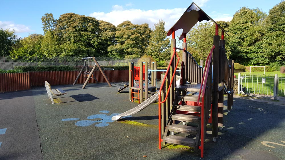 One of the two childrens' play areas at Robert Ashton Memorial Park