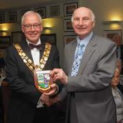 Jack Yates receiving his Pride of Meltham Award