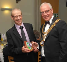 Ken Crowther receiving his Pride of Meltham Award
