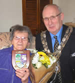 Mrs Shirley Watson receiving her Pride of Meltham Award